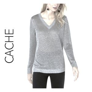 CACHE OMBRE METALLIC V-NECK SWEATER